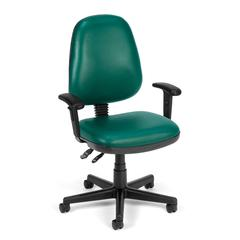 OFM Straton Series Vinyl Task Chair with Arms, Teal