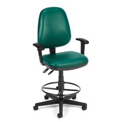 Straton Series Vinyl Task Chair with Arms and Drafting Kit, Teal