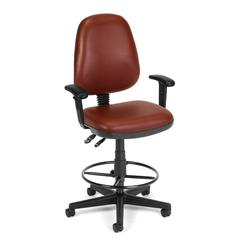 Straton Series Vinyl Task Chair with Arms and Drafting Kit, Wine