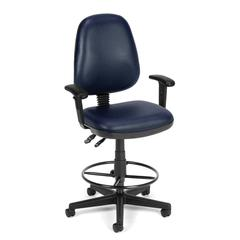 Straton Series Vinyl Task Chair with Arms and Drafting Kit, Navy