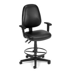 Straton Series Vinyl Task Chair with Arms and Drafting Kit, Black