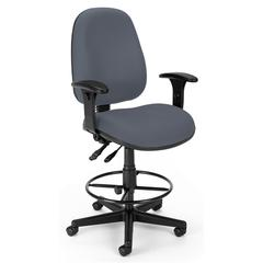 OFM Ergonomic Sliding Seat Computer Task Chair with Drafting Kit - ComfySeat™, Gray