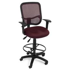 Comfort Series Ergonomic Mesh Task Stool with Arms and Drafting Kit - ComfySeat™, Wine