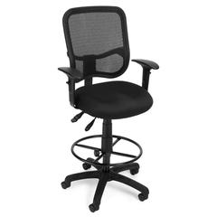 Comfort Series Ergonomic Mesh Task Stool with Arms and Drafting Kit - ComfySeat™, Black