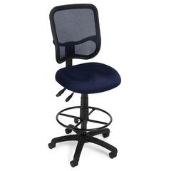 Comfort Series Ergonomic Mesh Task Stool with Drafting Kit - ComfySeat™, Navy