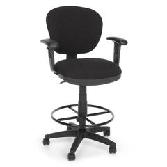 OFM Lite Use Computer Task Stool with Arms and Drafting Kit