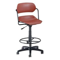Martisa Series Plastic Task Stool with Drafting Kit, Wine Seat, Black Frame