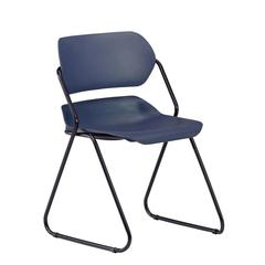 Martisa Series Armless Plastic Stack Chair, Navy Seat, Black Frame