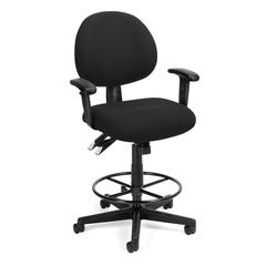 24 Hour Computer Task Chair with Arms and Drafting Kit, Black