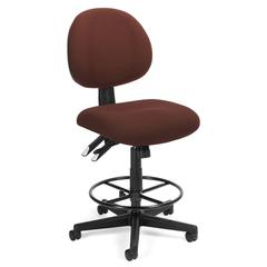24 Hour Computer Task Stool with Drafting Kit, Burgundy