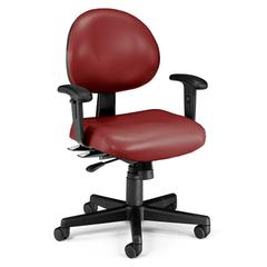 24 Hour Anti-Microbial Vinyl Computer Task Chair with Arms, Wine