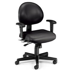 24 Hour Anti-Microbial Vinyl Computer Task Chair with Arms, Black