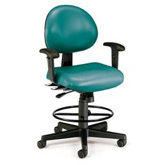24 Hour Computer Task Chair (Arms, Drafting Kit, Vinyl), Teal