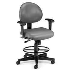 OFM 24 Hour Computer Task Chair (Arms, Drafting Kit, Vinyl), Charcoal