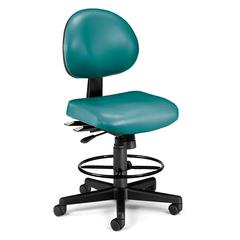 OFM 24 Hour Anti-Microbial Vinyl Computer Task Chair with Drafting kit, Teal