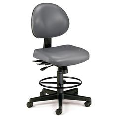 24 Hour Anti-Microbial Vinyl Computer Task Chair with Drafting kit, Charcoal