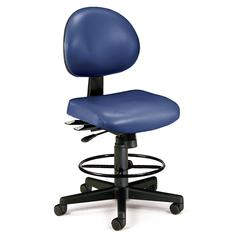 24 Hour Anti-Microbial Vinyl Computer Task Chair with Drafting kit, Navy