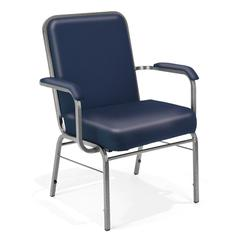 Big and Tall Anti-Microbial Vinyl Stack Chair with Arms, Navy