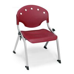 OFM Rico Student Stack Chair without Arms, Burgundy