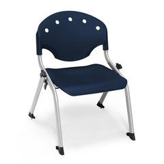 OFM Rico Student Stack Chair without Arms, Navy