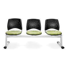 OFM Elements Stars 3-Unit Beam Seating with 3 Seats, Idiom Green Thumb