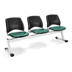 OFM Stars 3-Beam Seating with 3 Vinyl Seats, Teal