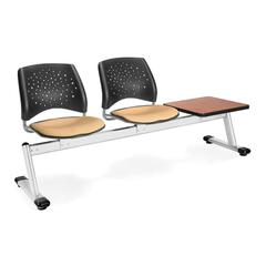 OFM Stars 3-Unit Beam Seating with 2 Seats/1 Table, Golden Flax Seats, Cherry Table