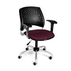 Stars Swivel Chair with Arms, Burgundy