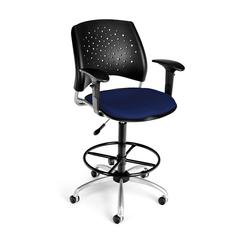 Stars Swivel Stool with Arms, Charcoal