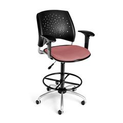 Stars Swivel Stool with Arms, Coral