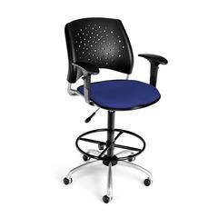 Stars Swivel Stool with Arms, Royal Blue