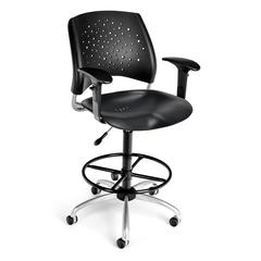 Stars Swivel Plastic Chair with Arms and Drafting Kit, Black