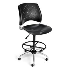 Stars Swivel Plastic Chair with Drafting Kit, Black