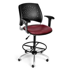 Stars Swivel Vinyl Chair with Arms and Drafting Kit, Wine