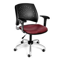 OFM Stars Swivel Vinyl Chair with Arms, Wine