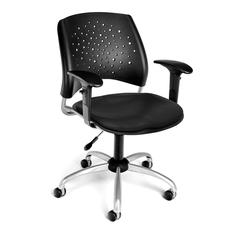 OFM Stars Swivel Vinyl Chair with Arms, Black