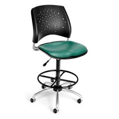 OFM Stars Swivel Vinyl Chair with Drafting Kit, Teal