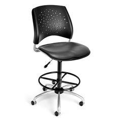 Stars Swivel Vinyl Chair with Drafting Kit, Charcoal