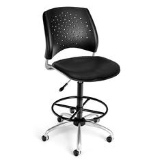 Stars Swivel Vinyl Chair with Drafting Kit, Black