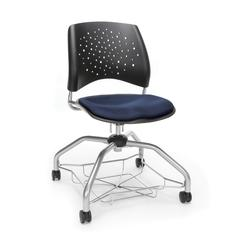 Stars Foresee Series Chair with Removable Fabric Seat Cushion - Student Chair, Navy