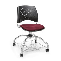 Stars Foresee Series Chair with Removable Fabric Seat Cushion - Student Chair, Burgundy