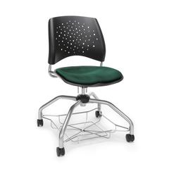 Stars Foresee Series Chair with Removable Fabric Seat Cushion - Student Chair, Forest Green