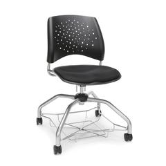 Stars Foresee Series Chair with Removable Fabric Seat Cushion - Student Chair, Black