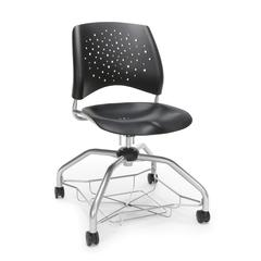 Stars Foresee Series Chair with Removable Plastic Seat Cushion - Student Chair, Black