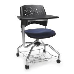 Stars Foresee Series Tablet Chair with Removable Fabric Seat Cushion - Student Desk Chair, Navy