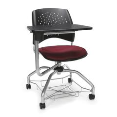 Stars Foresee Series Tablet Chair with Removable Fabric Seat Cushion - Student Desk Chair, Burgundy