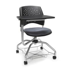 Stars Foresee Series Tablet Chair with Removable Fabric Seat Cushion - Student Desk Chair, Slate Gray