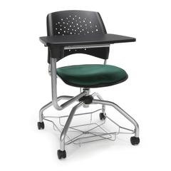 Stars Foresee Series Tablet Chair with Removable Fabric Seat Cushion - Student Desk Chair, Forest Green