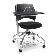 Stars Foresee Series Tablet Chair with Removable Fabric Seat Cushion - Student Desk Chair, Black