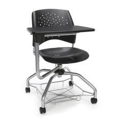 Stars Foresee Series Tablet Chair with Removable Plastic Seat Cushion - Student Desk Chair, Black